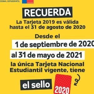 RECUERDA La TNE 2019 es válida hasta el 31 de agosto de 2020